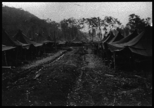 Scene from U.S. Army, 27th General Hospital (row of tents), Hollandia, New Guinea.