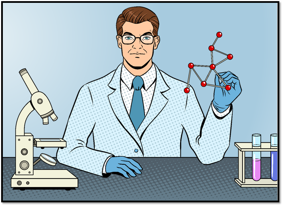 Scientist in lab drawn in comic book style