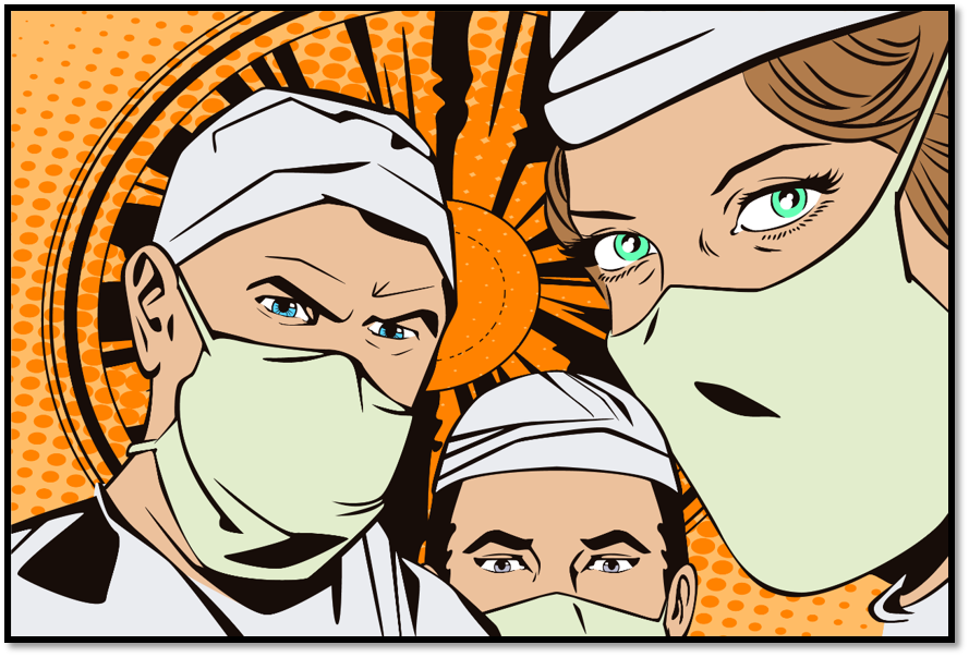 Doctors in surgical gear drawn in comic book style